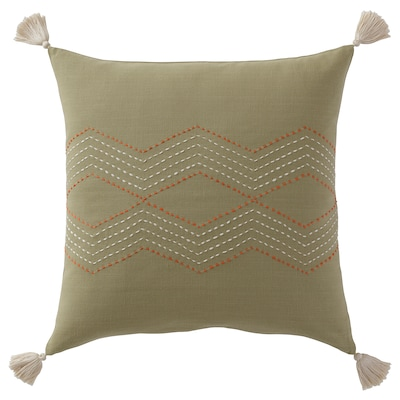 HALLVI Cushion cover, handmade green, 20x20 ""