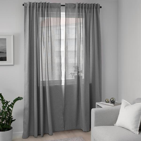 "HANNALENA room darkening curtains, 1 pair gray 98 ½ "" 57 "" 3 lb 8 oz 39.07 sq feet 2 pack"
