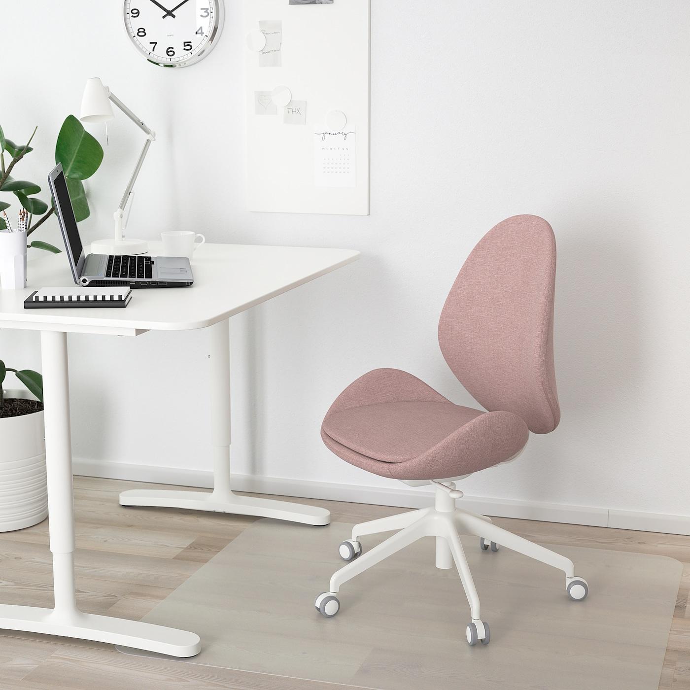 HATTEFJÄLL Office chair, Gunnared light brown-pink