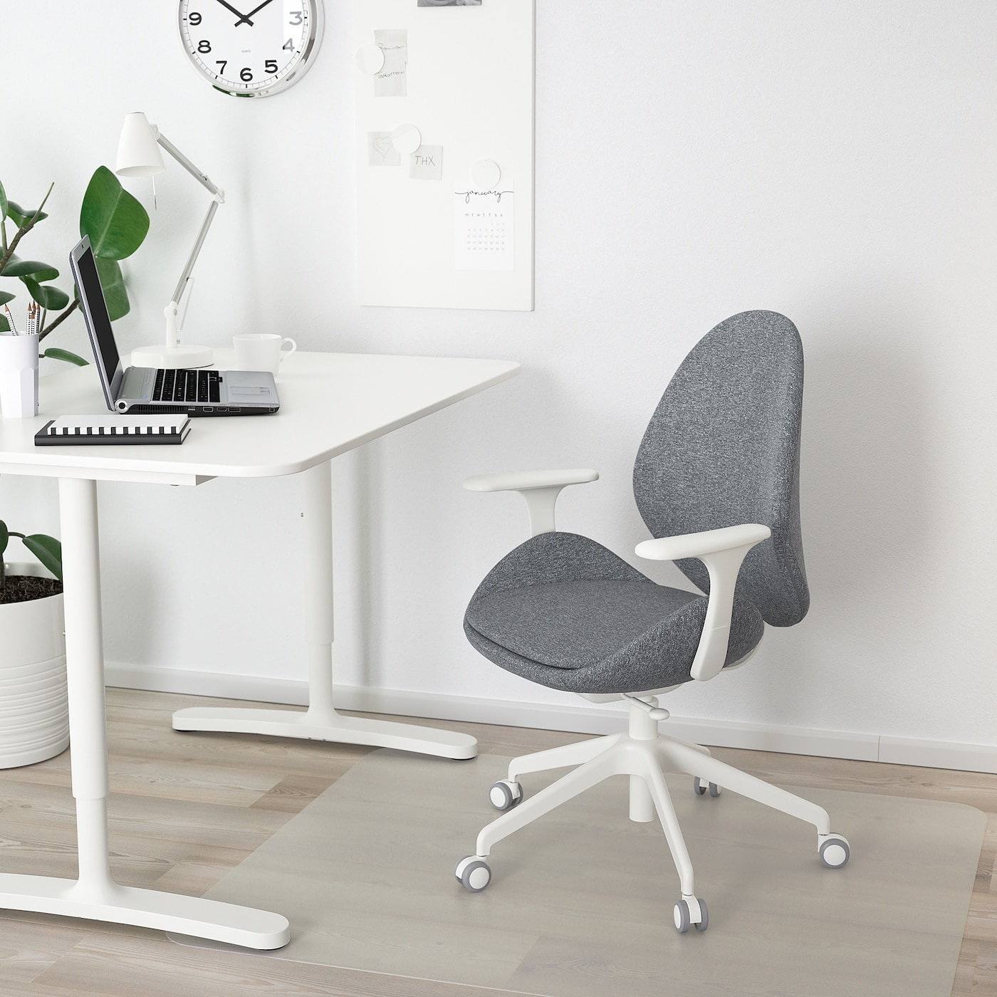 Hattefjäll Office Chair With Armrests Gunnared Medium Gray White Ikea