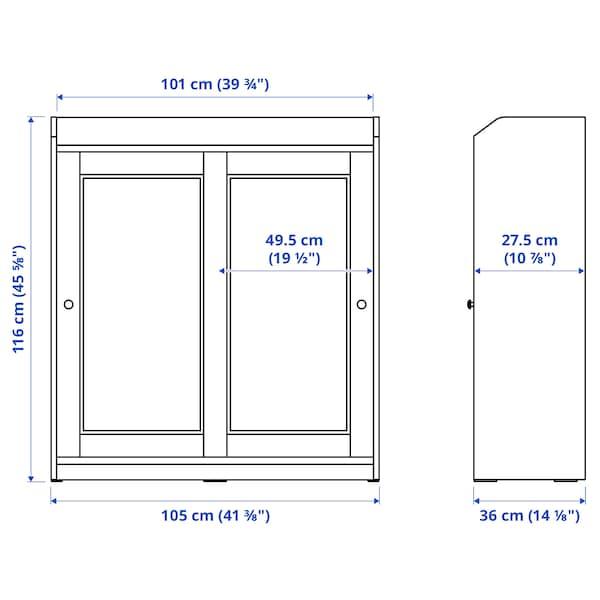 "HAUGA Glass-door cabinet, white, 41 3/8x45 5/8 """