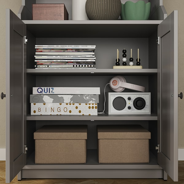 "HAUGA High cabinet with 2 doors, gray, 27 1/2x78 3/8 """