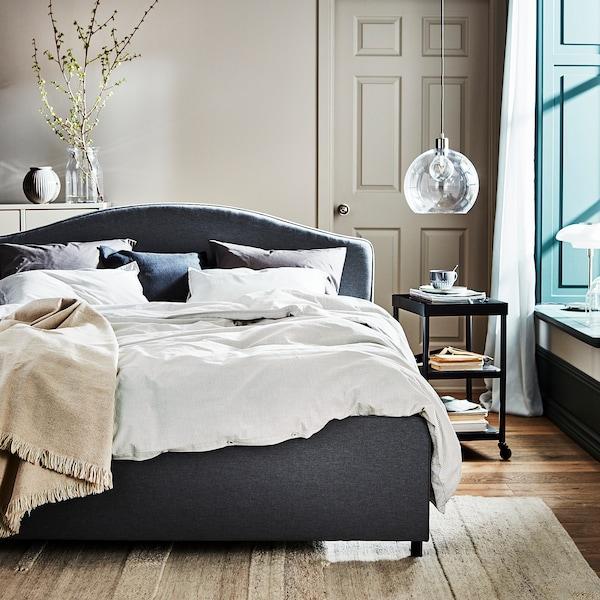 HAUGA Upholstered bed frame, Vissle gray, Queen