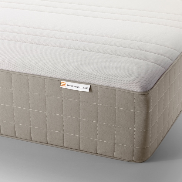 HAUGESUND Spring mattress, medium firm/dark beige, Queen