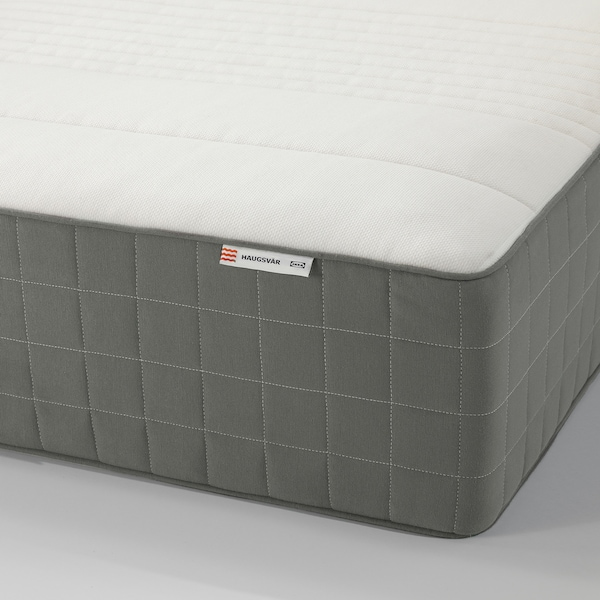 HAUGSVÄR Hybrid mattress, firm/dark gray, Queen