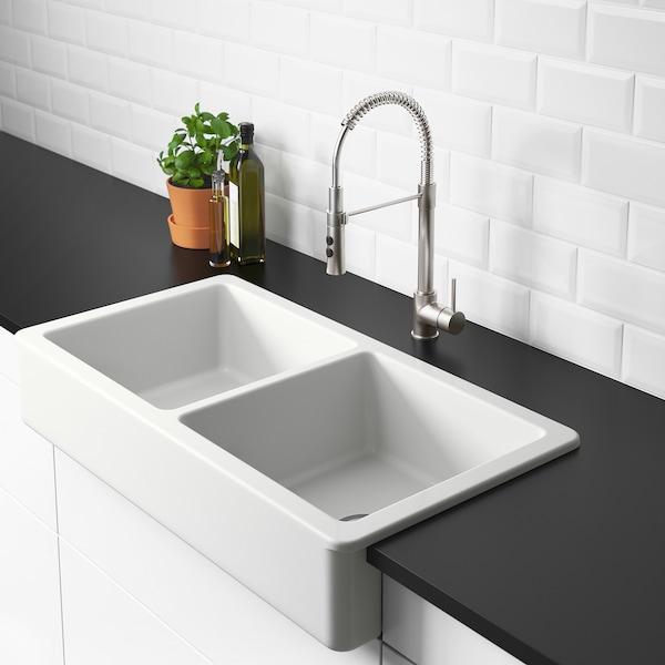 "HAVSEN Apron front double bowl sink, white, 37x19 """