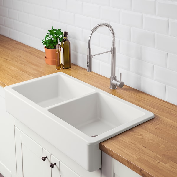 Havsen A Front Double Bowl Sink White Ikea