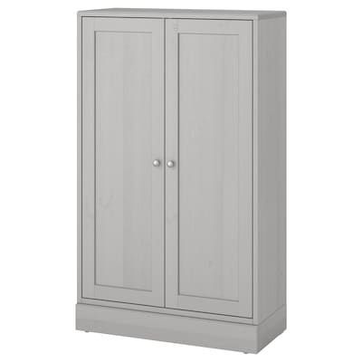 HAVSTA Cabinet with base, gray, 31 7/8x14 5/8x52 3/4 ""