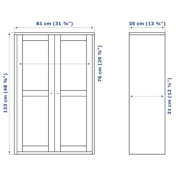 """HAVSTA Glass-door cabinet, dark brown, 31 7/8x13 3/4x48 3/8 """""""