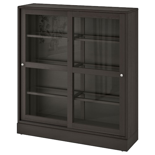 "HAVSTA glass-door cabinet with base dark brown clear glass  47 5/8 "" 14 5/8 "" 52 3/4 "" 71 lb"