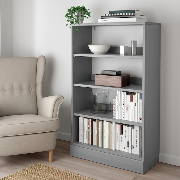 HAVSTA Shelving unit with base, gray, 31 7/8x14 5/8x52 3/4 ""