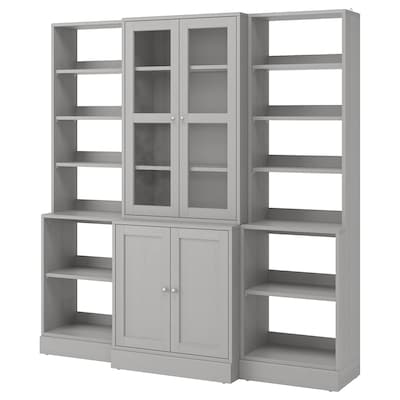 HAVSTA Storage combination w/glass doors, gray, 79 7/8x18 1/2x83 1/2 ""