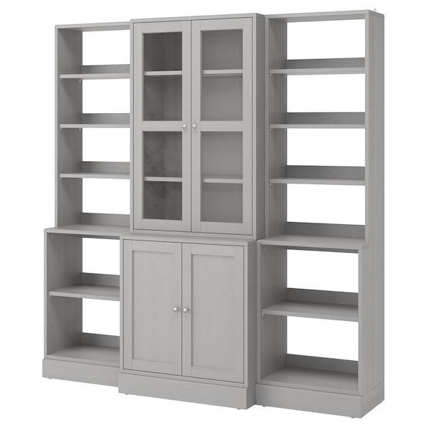 "HAVSTA Storage combination w/glass doors, gray, 79 7/8x18 1/2x83 1/2 """