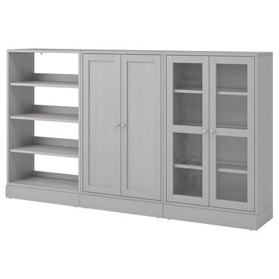 "HAVSTA Storage combination w/glass doors, gray, 95 5/8x14 5/8x52 3/4 """