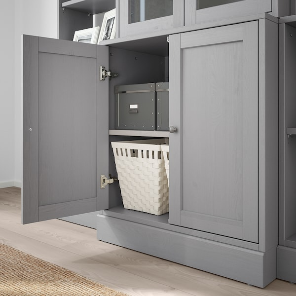 "HAVSTA storage combination w/glass doors gray 79 7/8 "" 18 1/2 "" 83 1/2 "" 44 lb"