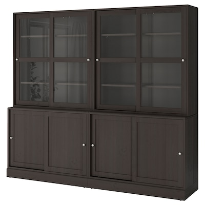 HAVSTA Storage with sliding glass doors, dark brown, 95 1/4x18 1/2x83 1/2 ""