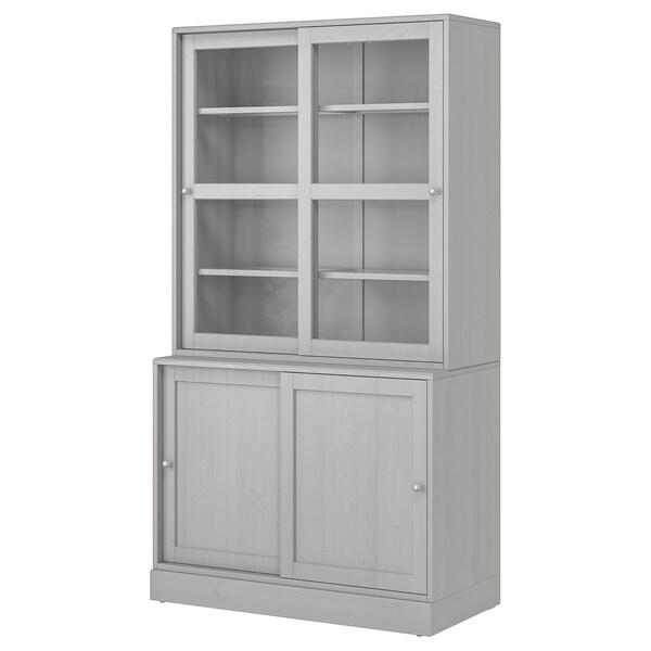 Havsta Storage With Sliding Glass Doors Gray 47 5 8x18 1 2x83 1 2 Ikea