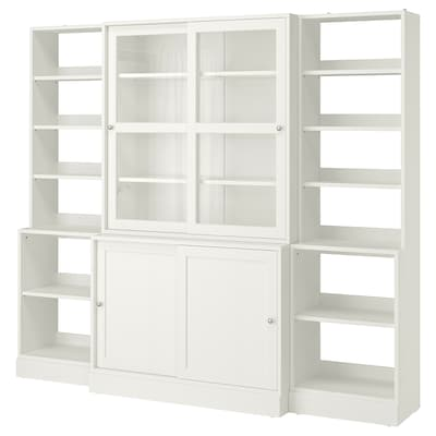 HAVSTA Storage with sliding glass doors, white, 95 5/8x18 1/2x83 1/2 ""