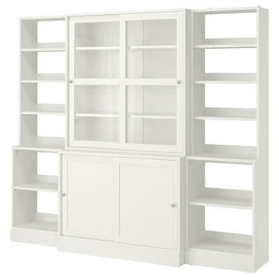 "HAVSTA Storage with sliding glass doors, white, 95 5/8x18 1/2x83 1/2 """