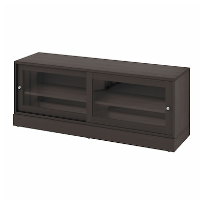 HAVSTA TV unit with base, dark brown, 63x18 1/2x24 3/8 ""