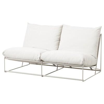"HAVSTEN Loveseat, in/outdoor, without armrests/beige, 64 5/8x37x35 3/8 """