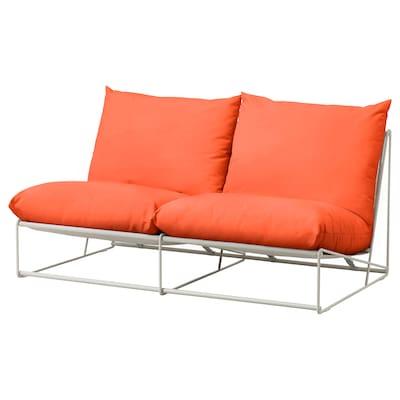 "HAVSTEN Loveseat, in/outdoor, without armrests orange/beige, 64 5/8x37x35 3/8 """