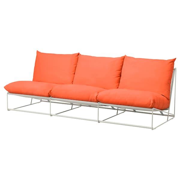 """HAVSTEN Sofa, in/outdoor, without armrests orange/beige, 96 1/2x37x35 3/8 """""""