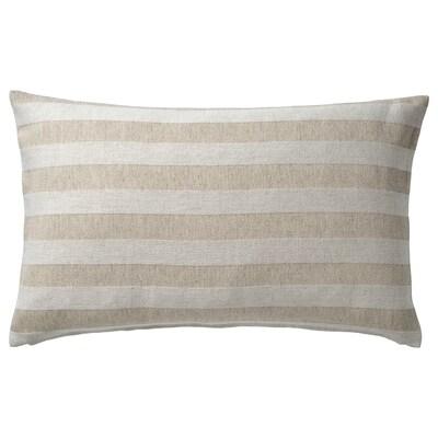 "HEDDAMARIA Cushion cover, natural/stripe, 16x26 """