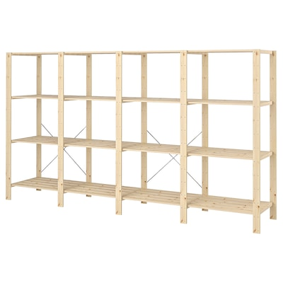 "HEJNE 4 section shelving unit softwood 120 7/8 "" 19 5/8 "" 67 3/8 "" 110 lb"