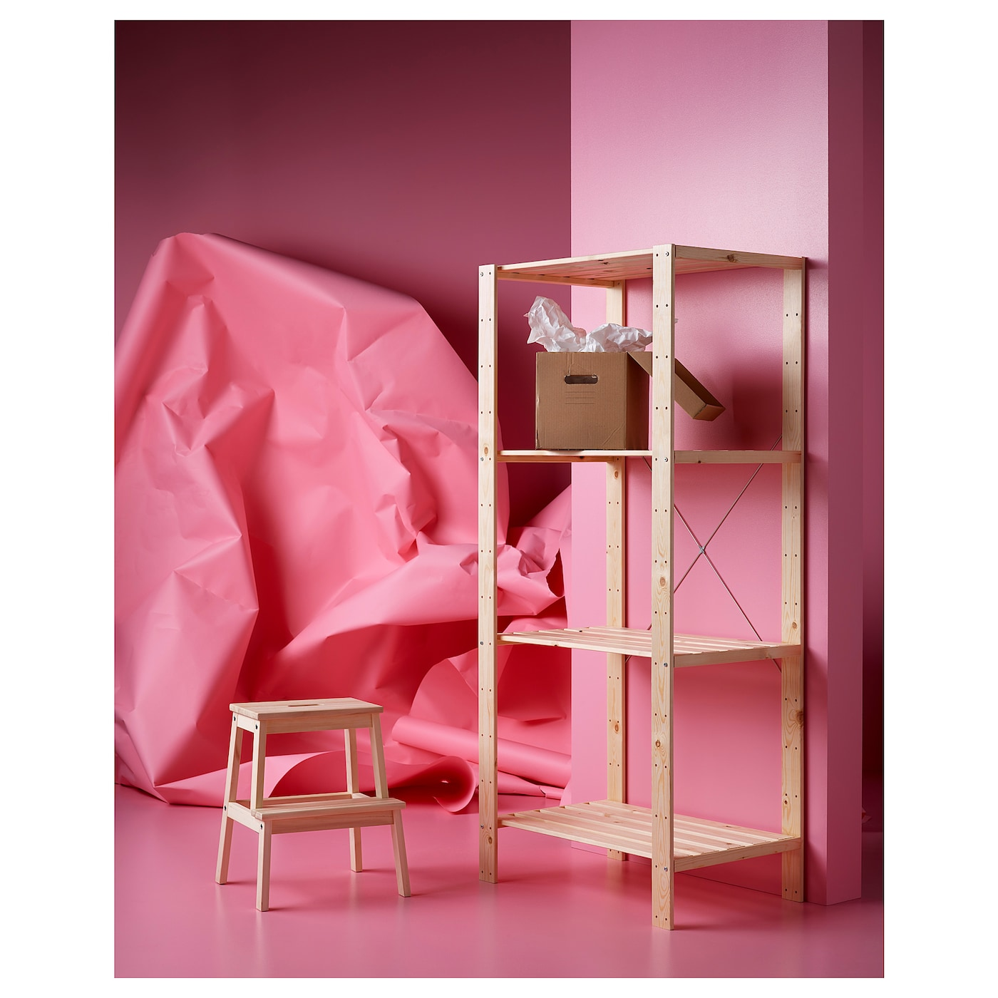 "HEJNE Shelf unit, softwood, 30 3/4x19 5/8x67 3/8 """