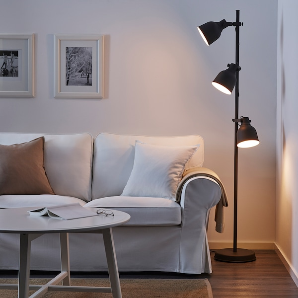 HEKTAR Floor lamp w/3-spots and LED bulbs, dark gray