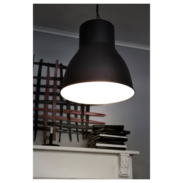 "HEKTAR Pendant lamp, dark gray, 19 """