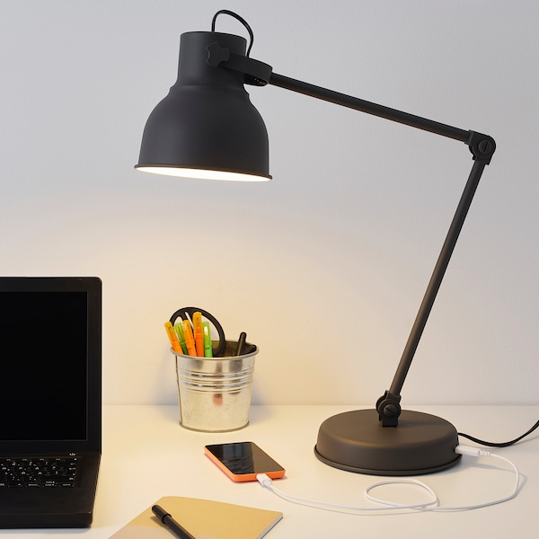 HEKTAR Work lamp with LED bulb, dark gray