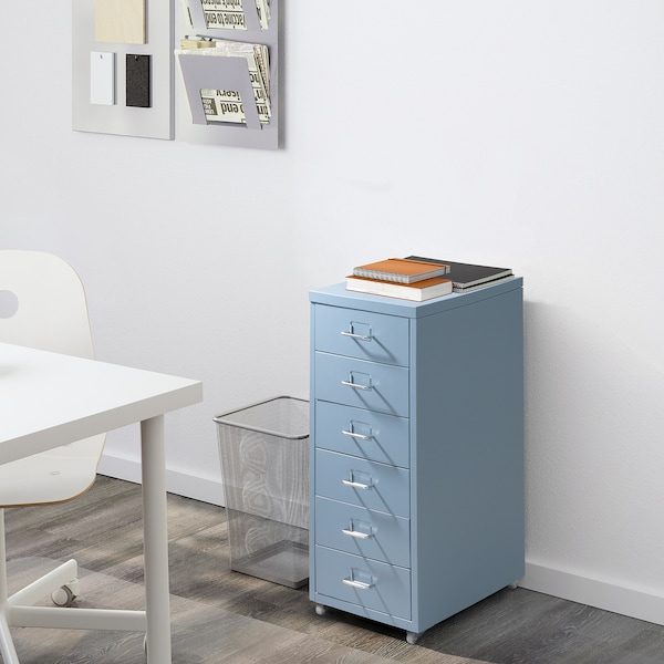 HELMER Drawer unit on casters, blue, 11x27 1/8 ""