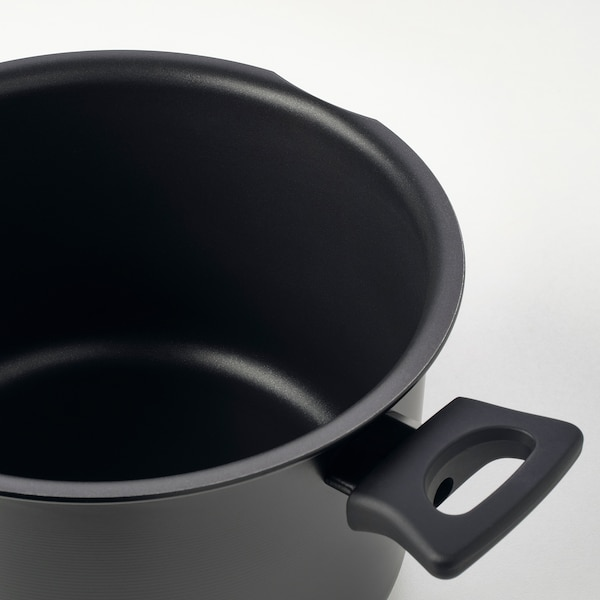 HEMLAGAD Pot with lid, black, 5.3 qt