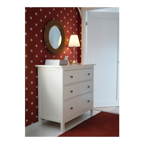 "HEMNES 3 drawer chest, white Width: 43 1/4 "" Depth: 20 1/8 "" Height: 38 1/4 ""  Width: 110 cm Depth: 51 cm Height: 97 cm"