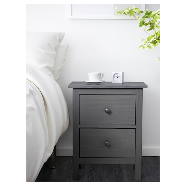 HEMNES 2-drawer chest, dark gray stained, 21 1/4x26 ""