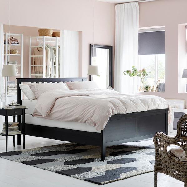 HEMNES Bed frame, black-brown/Espevär, King