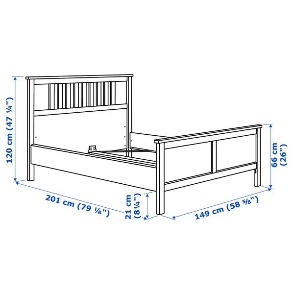 HEMNES Bed frame, black-brown/Lönset, Full
