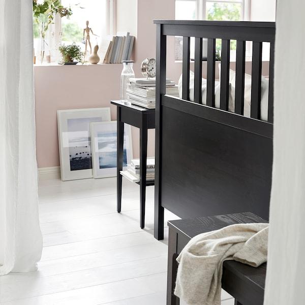 HEMNES Bed frame, black-brown/Luröy, Queen