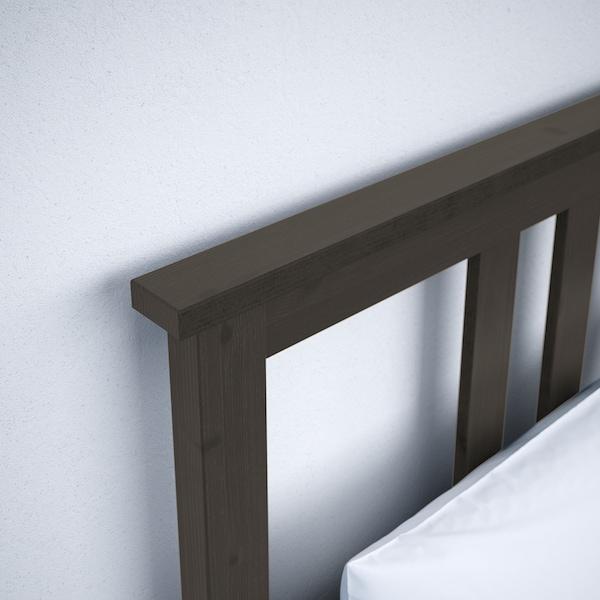 HEMNES Bed frame, black-brown, King