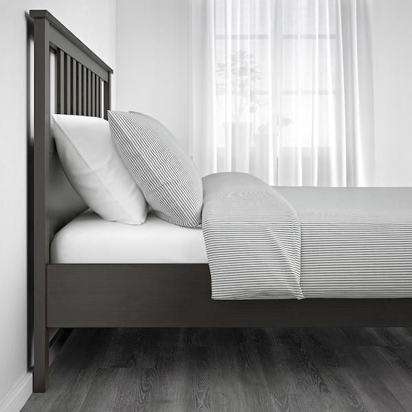 HEMNES Bed frame, dark gray stained/Lönset, Full/Double