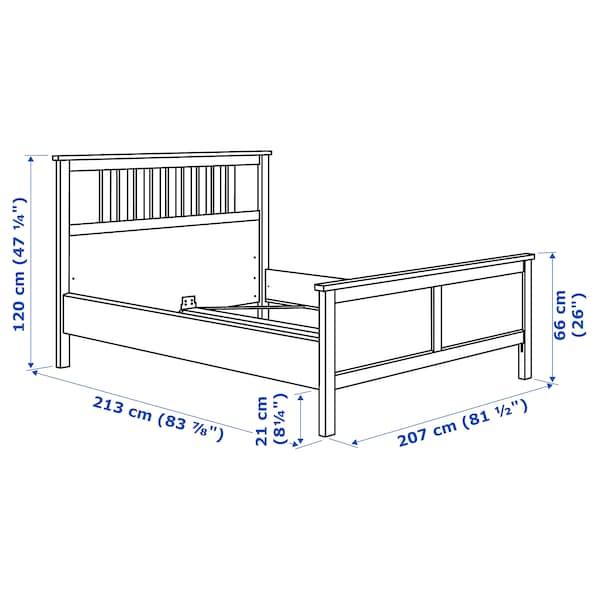 HEMNES Bed frame, dark gray stained/Luröy, King