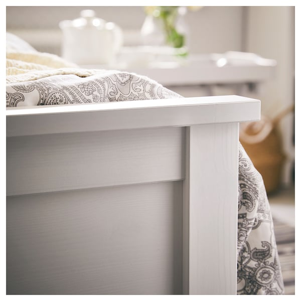HEMNES Bed frame, white stain/Lönset, Twin
