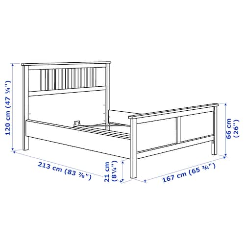 Hemnes Bed Frame White Stain Luroy Queen Ikea