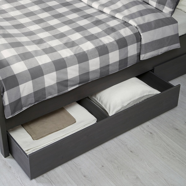 HEMNES Bed frame with 2 storage boxes, dark gray stained/Luröy, King