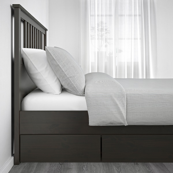 HEMNES Bed frame with 2 storage boxes, dark gray stained, Queen