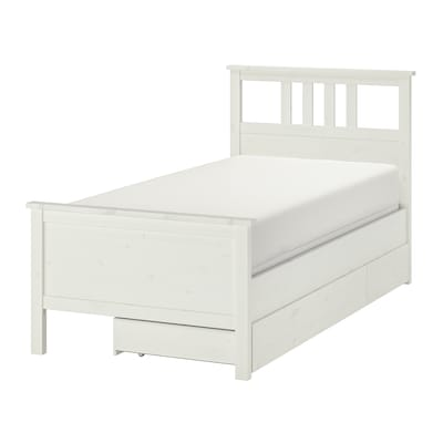 HEMNES Bed frame with 2 storage boxes, white stain/Espevär, Twin