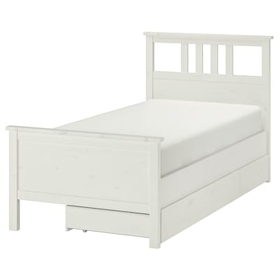 HEMNES Bed frame with 2 storage boxes, white stain/Luröy, Twin