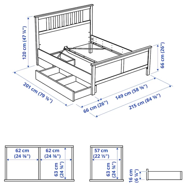 HEMNES Bed frame with 2 storage boxes, white stain/Luröy, Full
